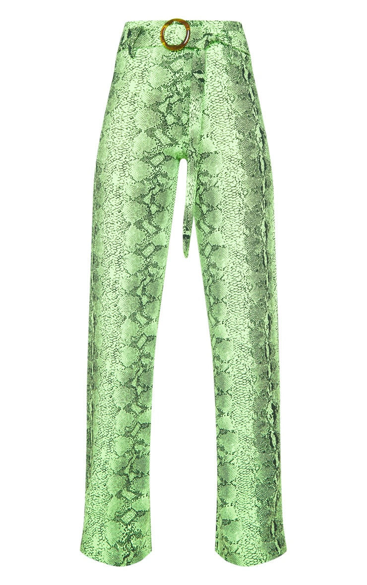 Tall Neon Lime Snake Print Wide Leg Trouser 3