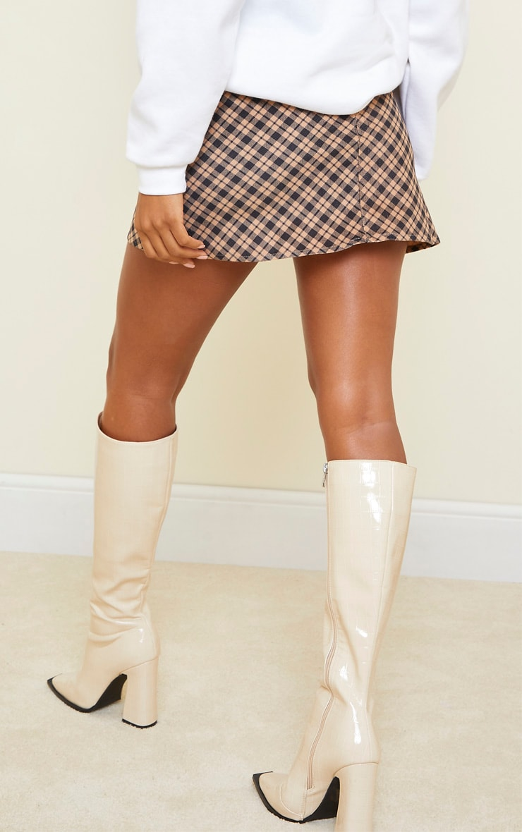 Brown Checked Soft Touch Pocket Detail Mini Skirt 3