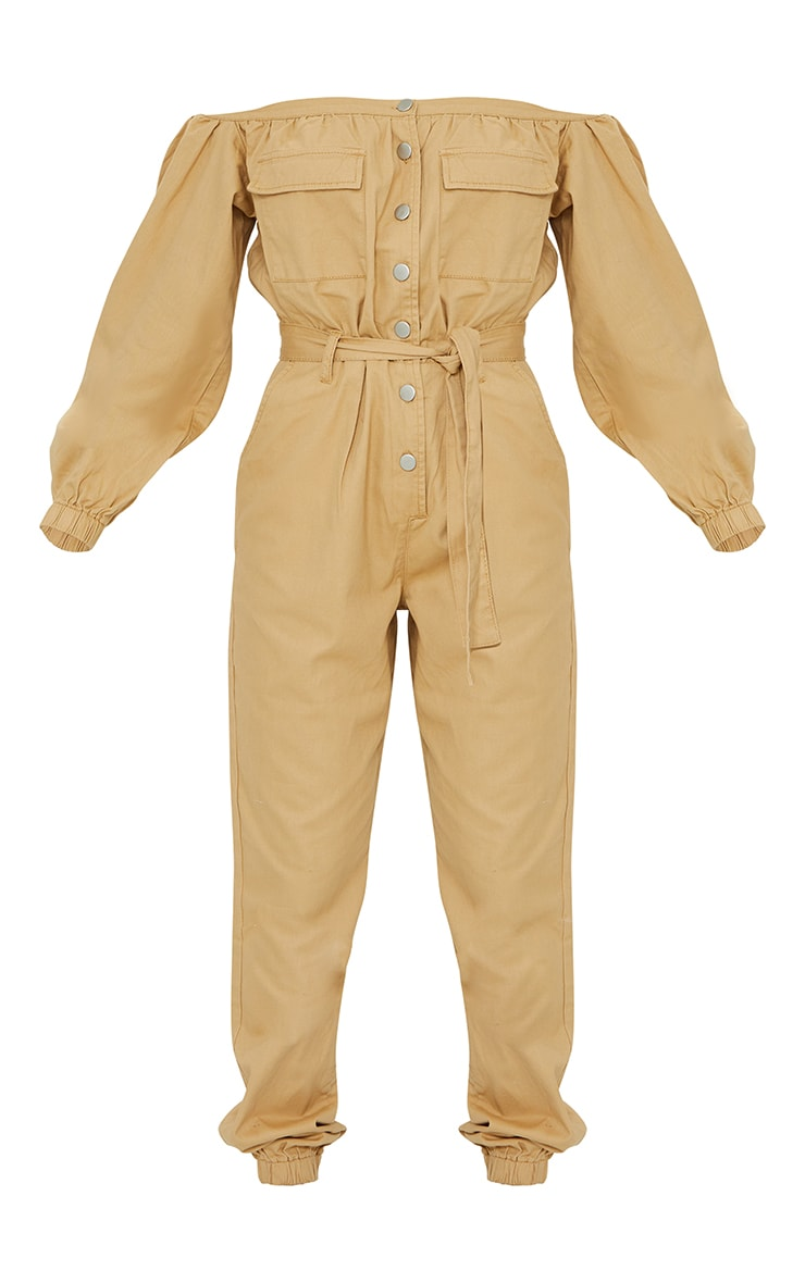 Sand Bardot Button Through Denim Joggers Jumpsuit 5