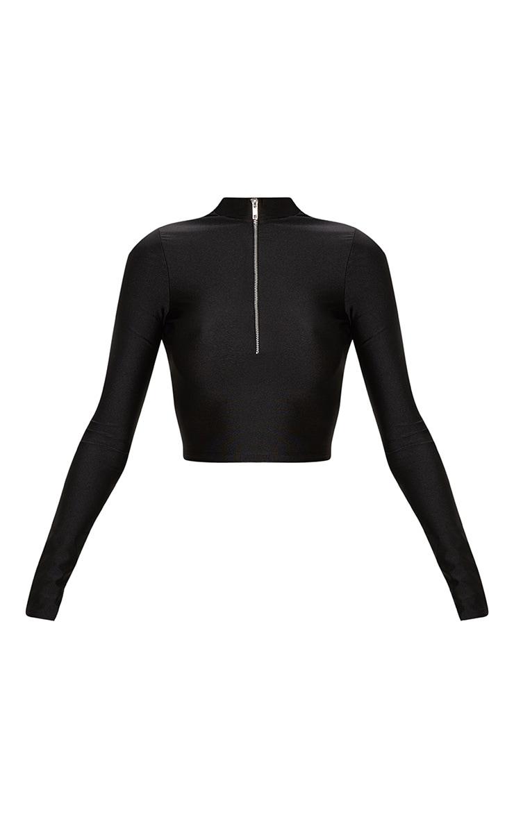Black Disco Zip Front High Neck Long Sleeve Crop Top   3
