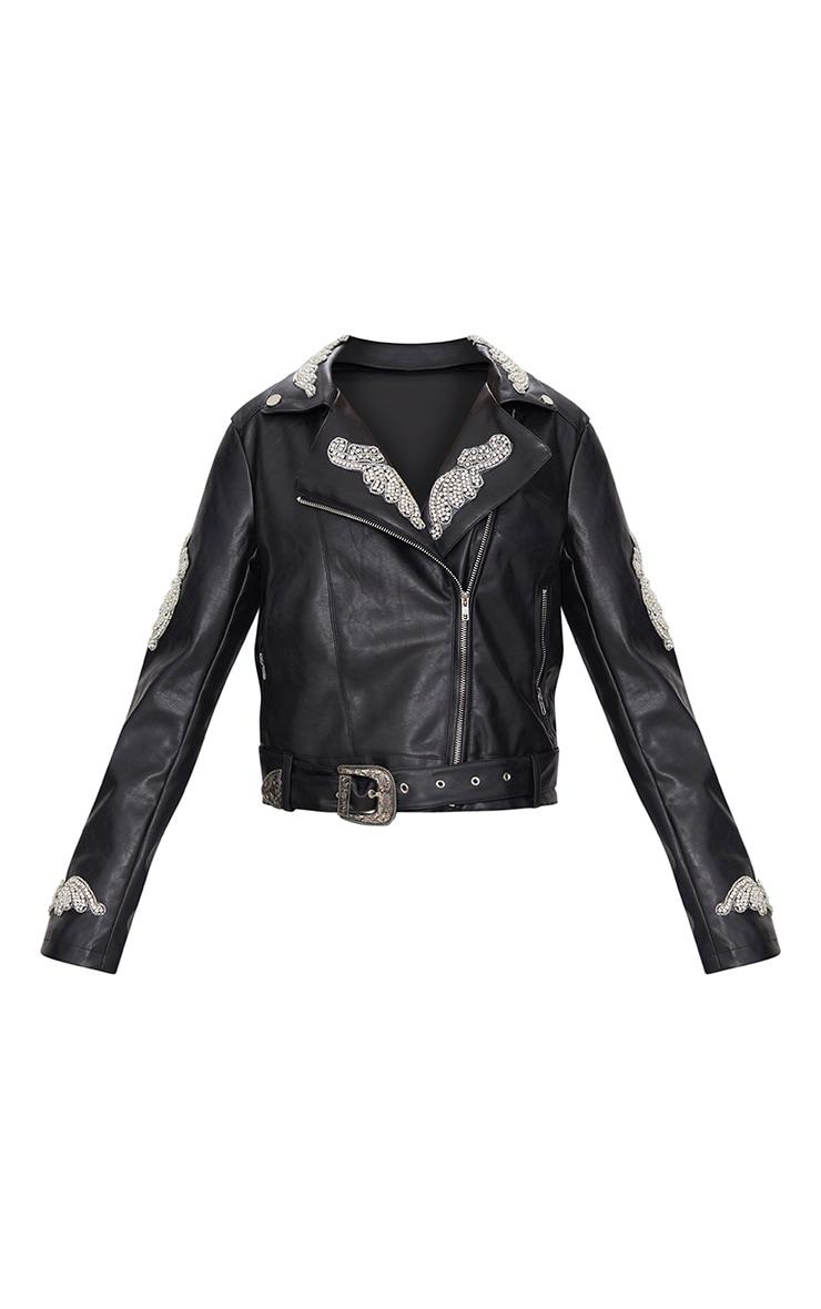 Black Embellished Applique Detail PU Biker Jacket 3