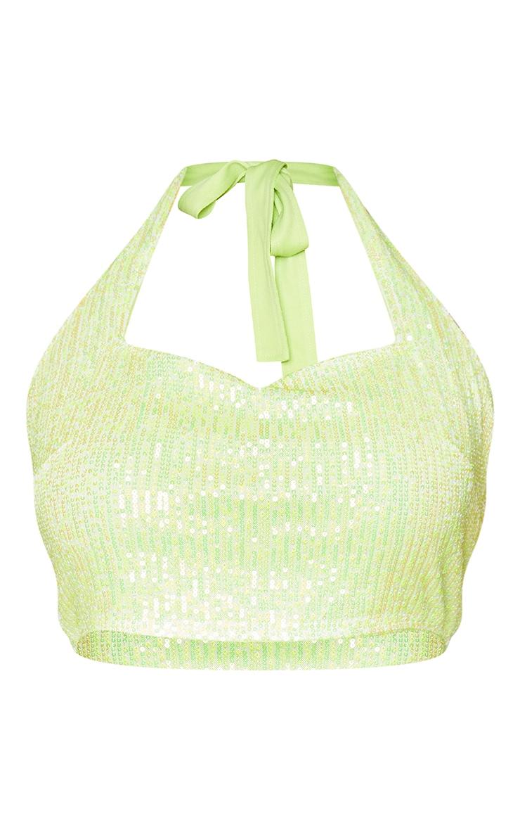 Plus Lime Sequin Halterneck Crop Top 5