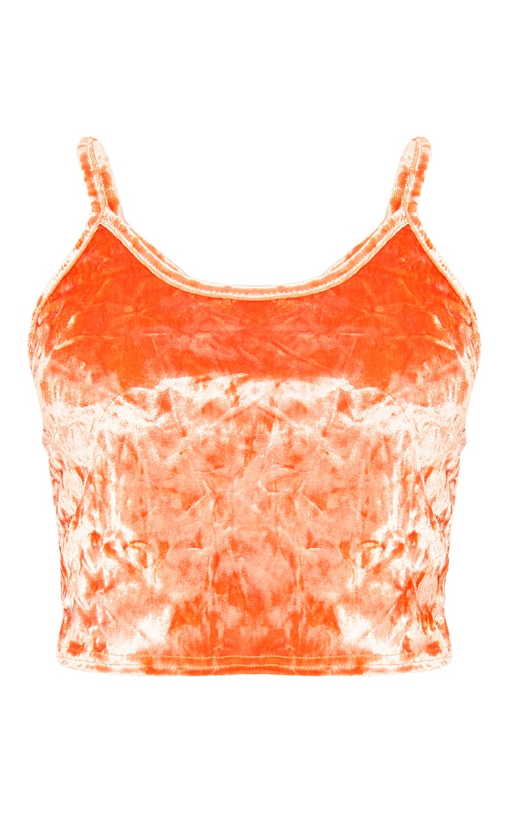 Kathleen Orange Crushed Velvet Cami Crop  Top 3