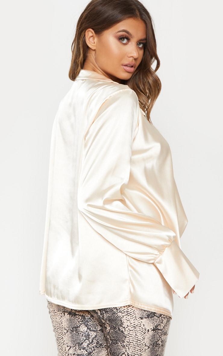 Cream Extreme Cowl Longline Satin Shirt 2
