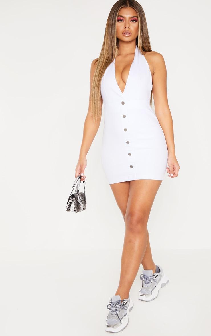 White Halterneck Button Denim Dress 4