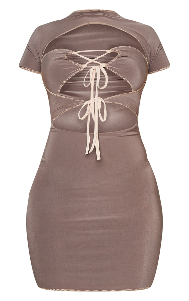 Shape Soft Brown Slinky Lace Up Cut Out Bodycon Dress 5