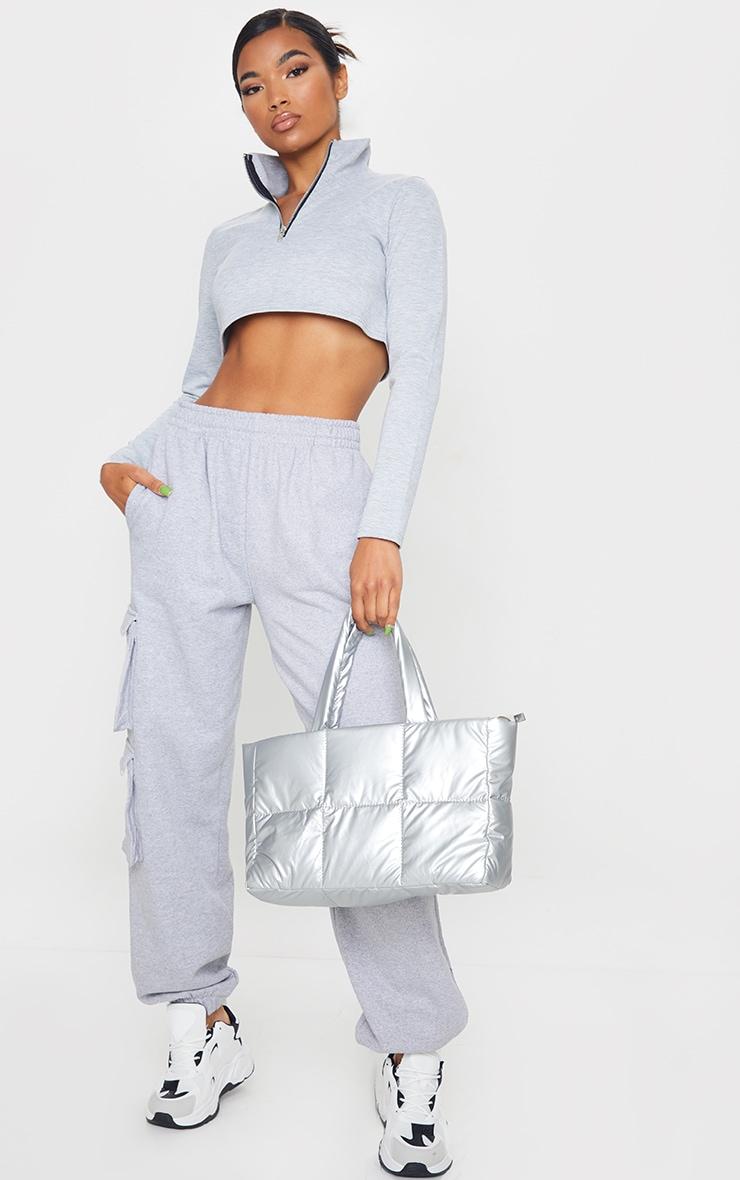 Grey Zip Front Crop Sweater 3