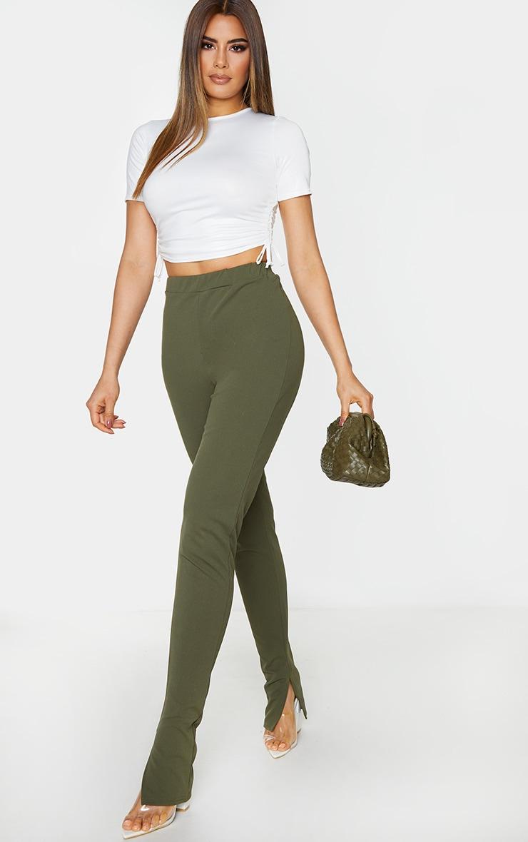 Tall Khaki Back Seam Split Hem Crepe Trouser 1