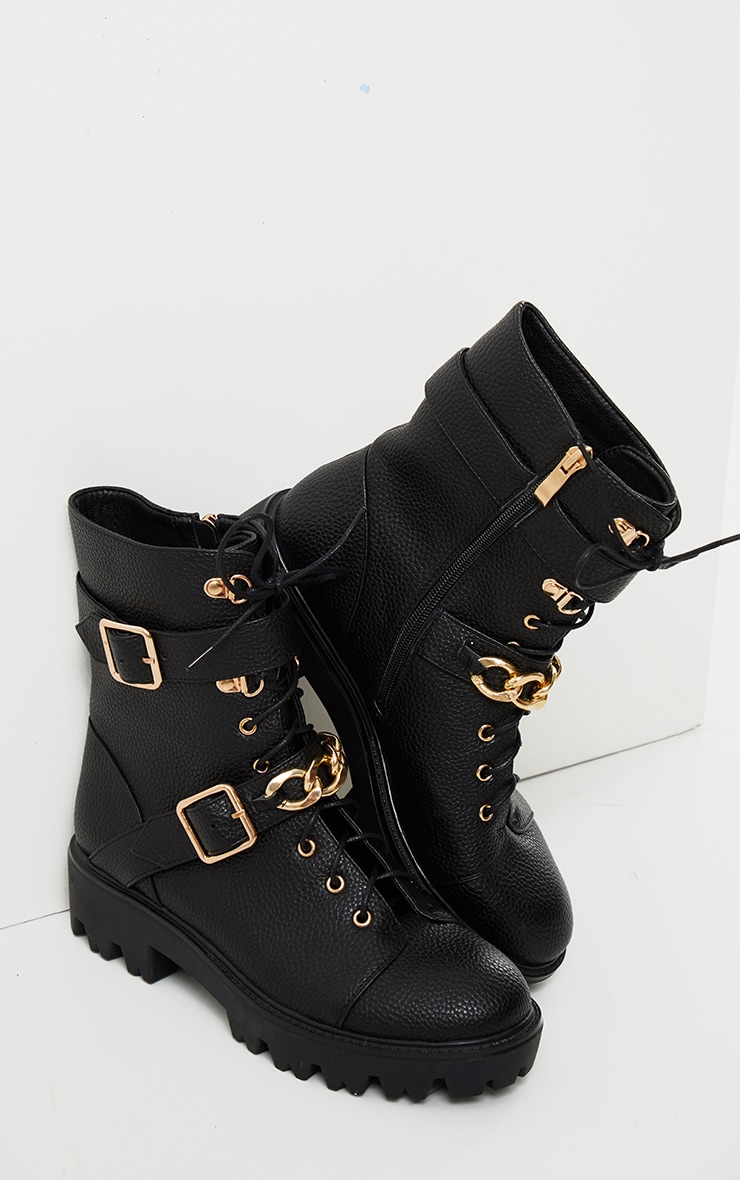 Black Buckle Chain Trim Lace Up Hiker Boot 4