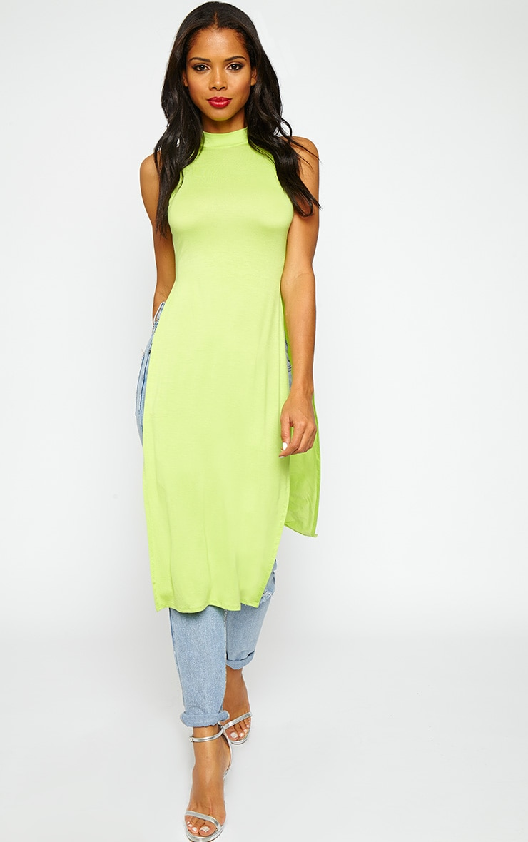 Ane Lime High Neck Split Side Top 1