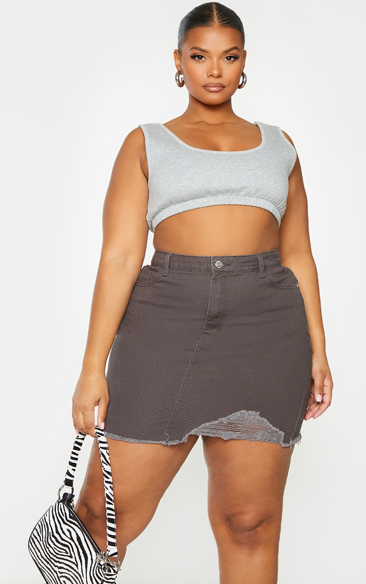 Plus Charcoal One Sided Distressed Hem Denim Skirt 4