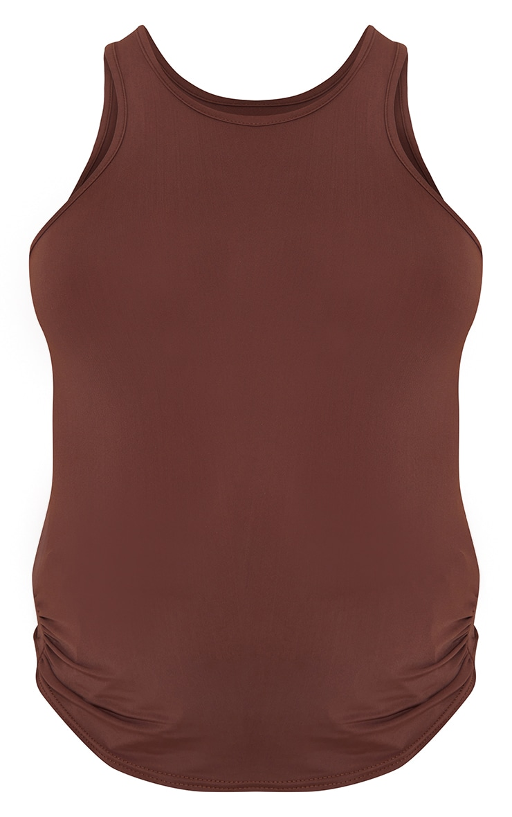 Maternity Chocolate  Slinky Fitted Racer Top 5