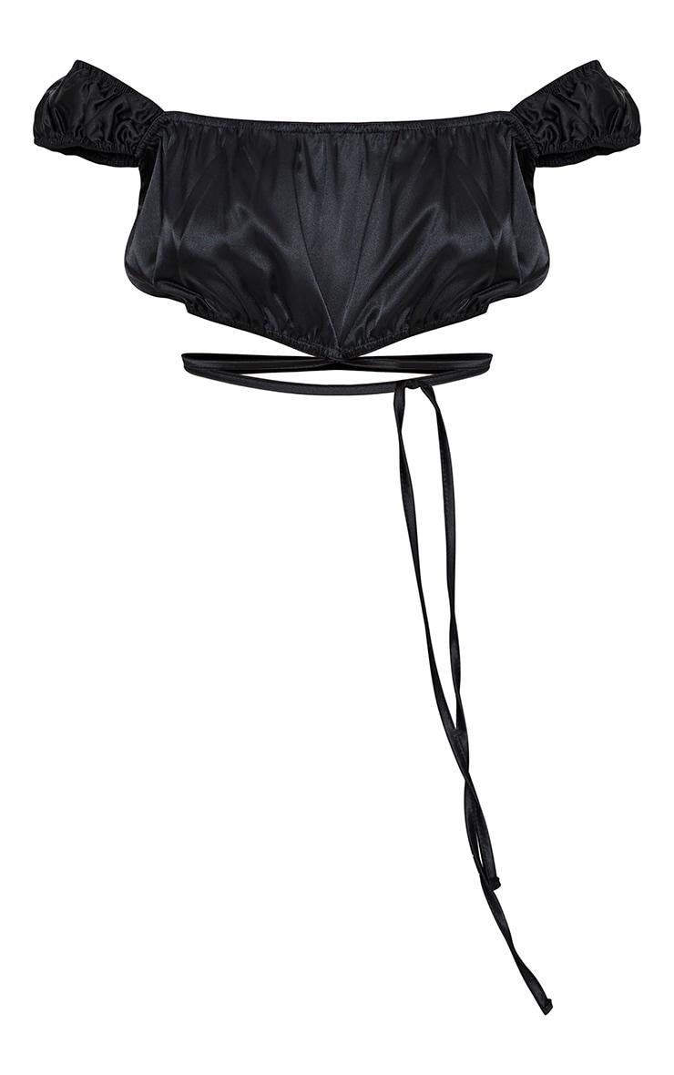 Black Satin Bardot Tie Detail Crop Top 5