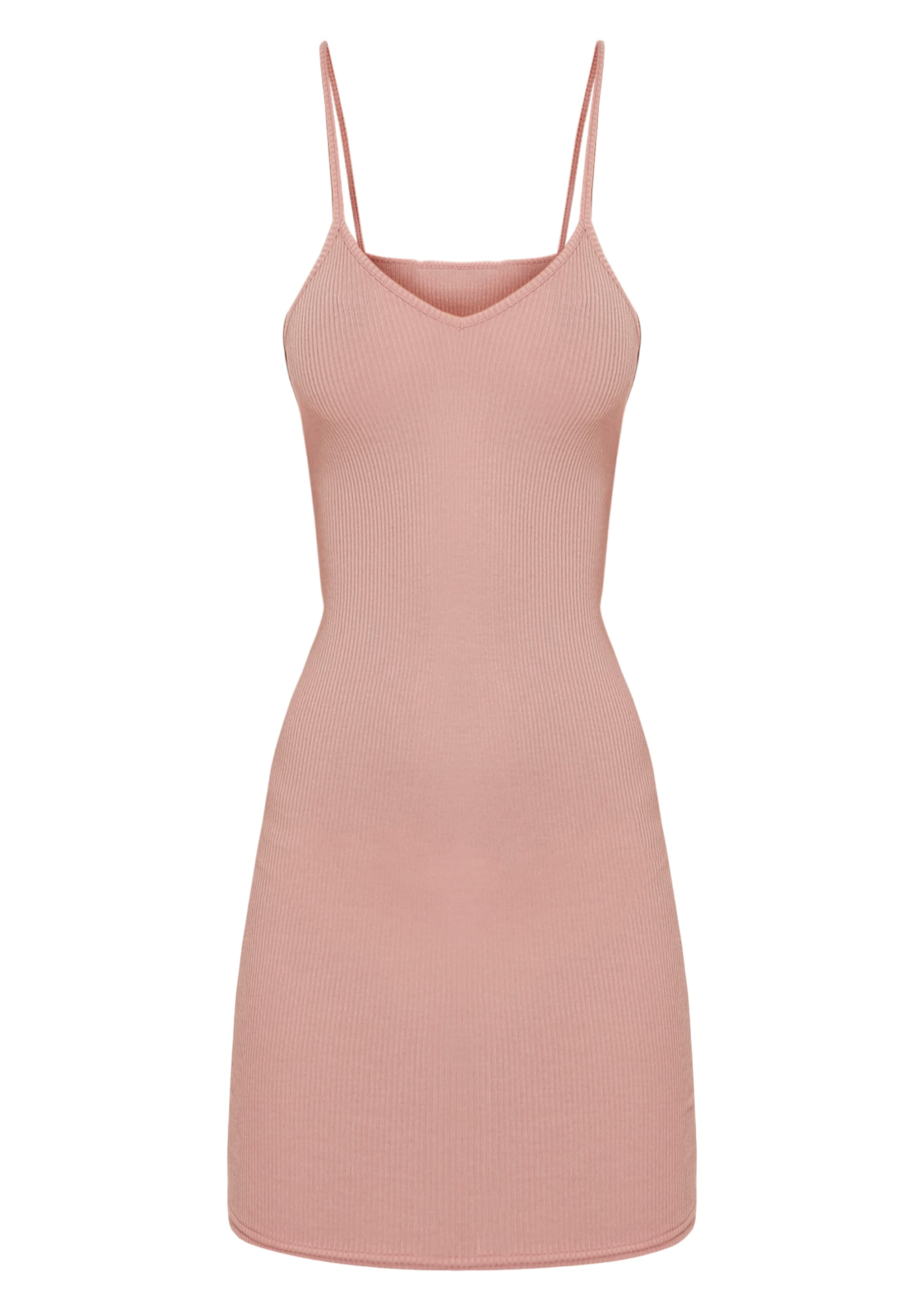 Basic Dusty Pink Strappy V Neck Ribbed Bodycon Dress 3
