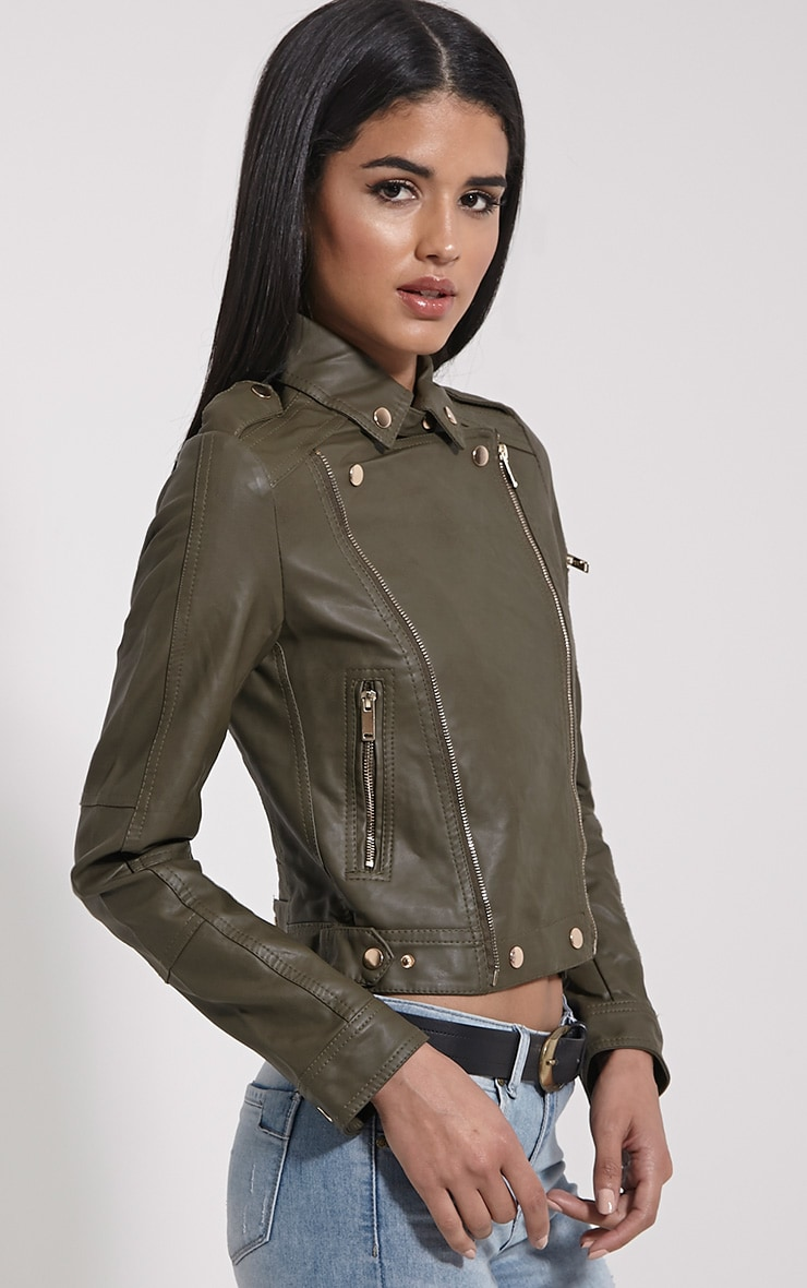 Blake Khaki Faux Leather Biker Jacket 4