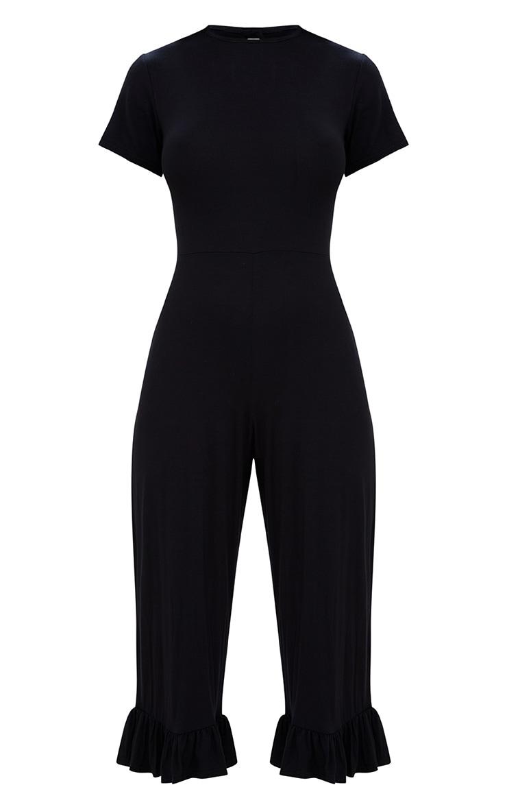 Black Jersey Short Sleeve Frill Hem Culotte Jumpsuit 3