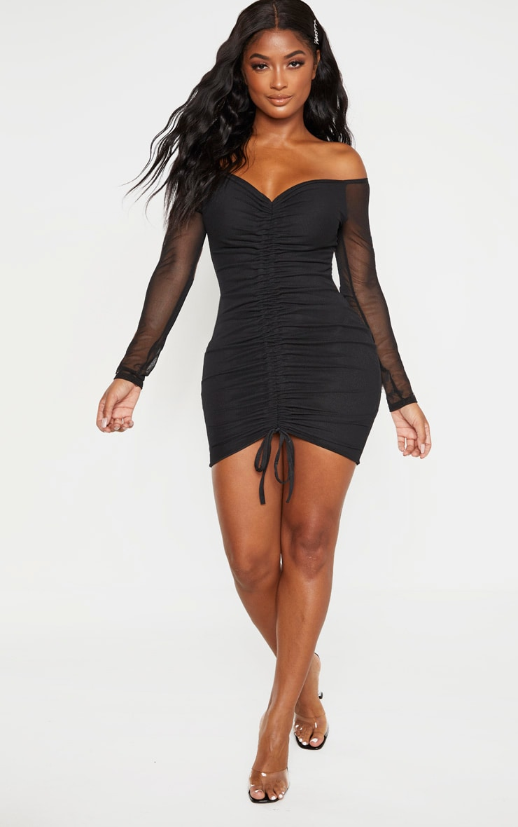 Shape Black Mesh Ruched Bardot Bodycon Dress 4