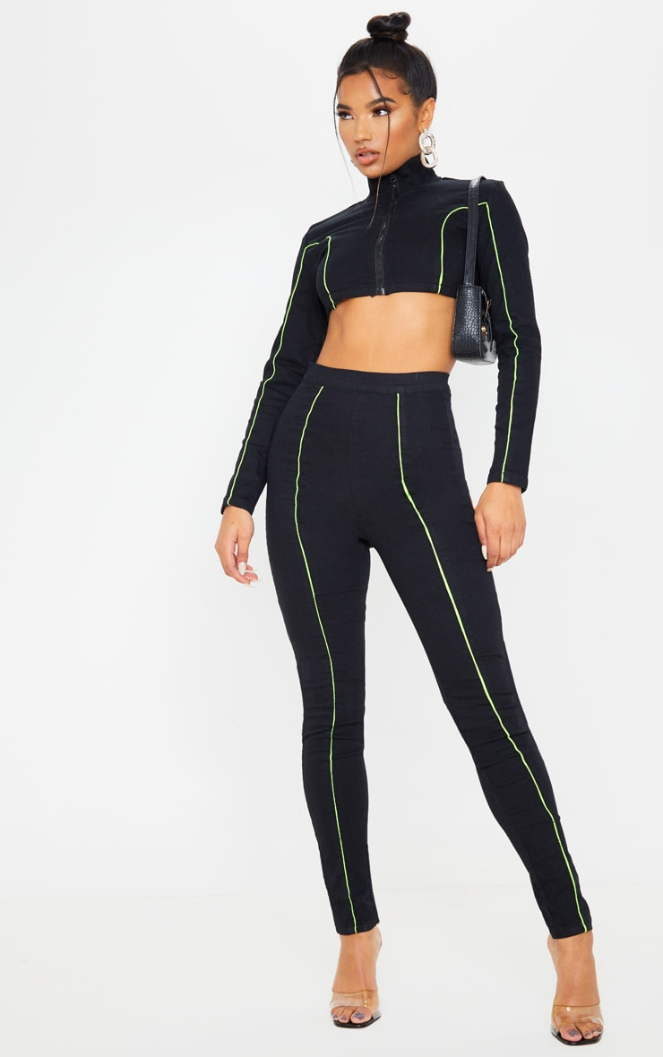 Black Super Stretch Contrast Neon Stitch Zip Through Crop Top  4