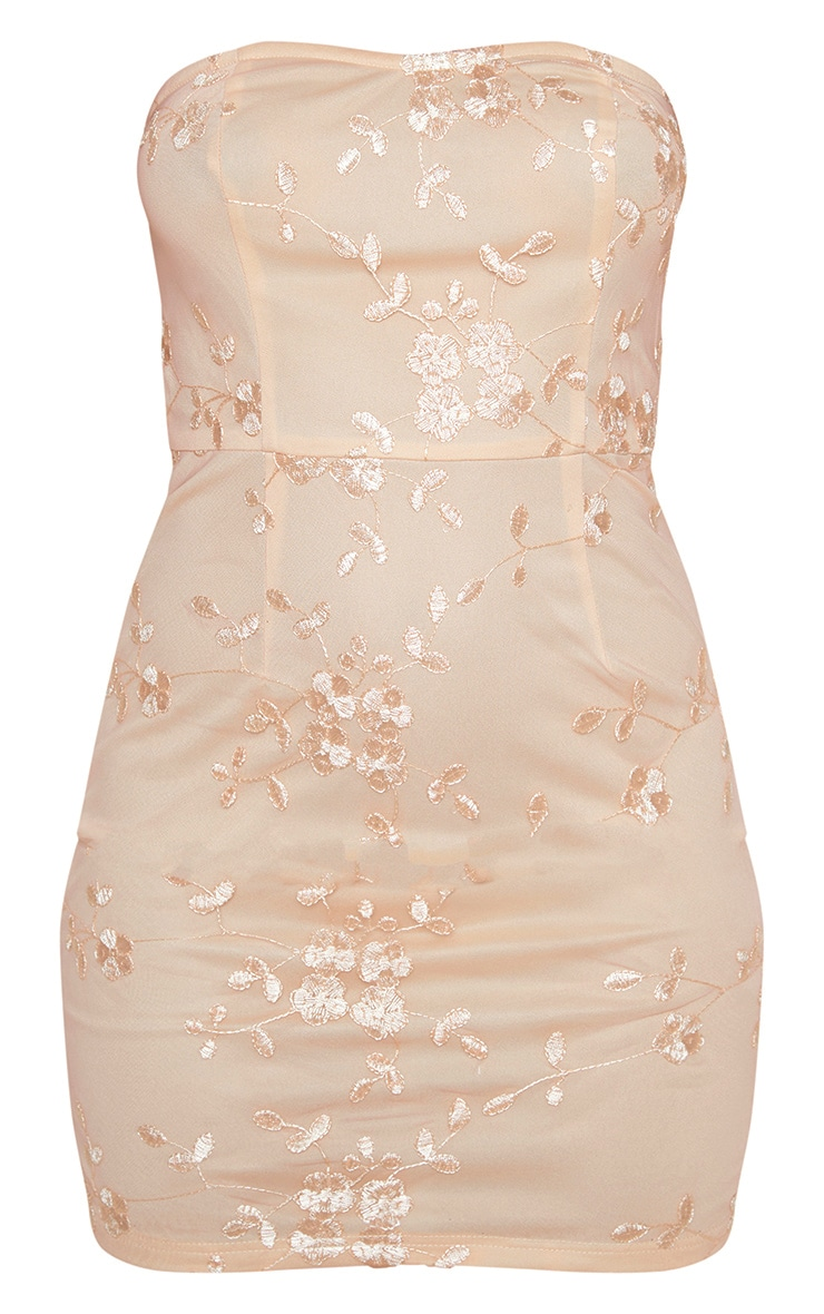 Nude Floral Embroidered Bandeau Bodycon Dress 3