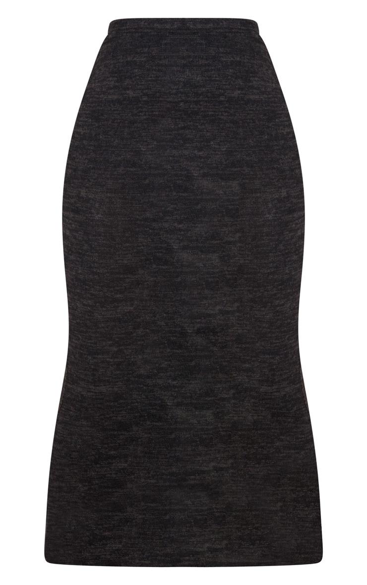 Jupe longue noire style brossé 3