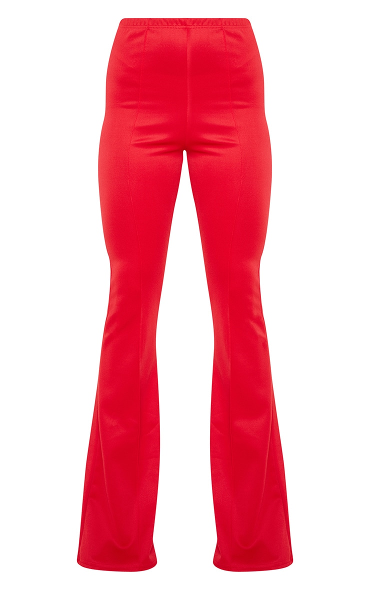 Red High Waist Extreme Flare Long Leg Trousers 3