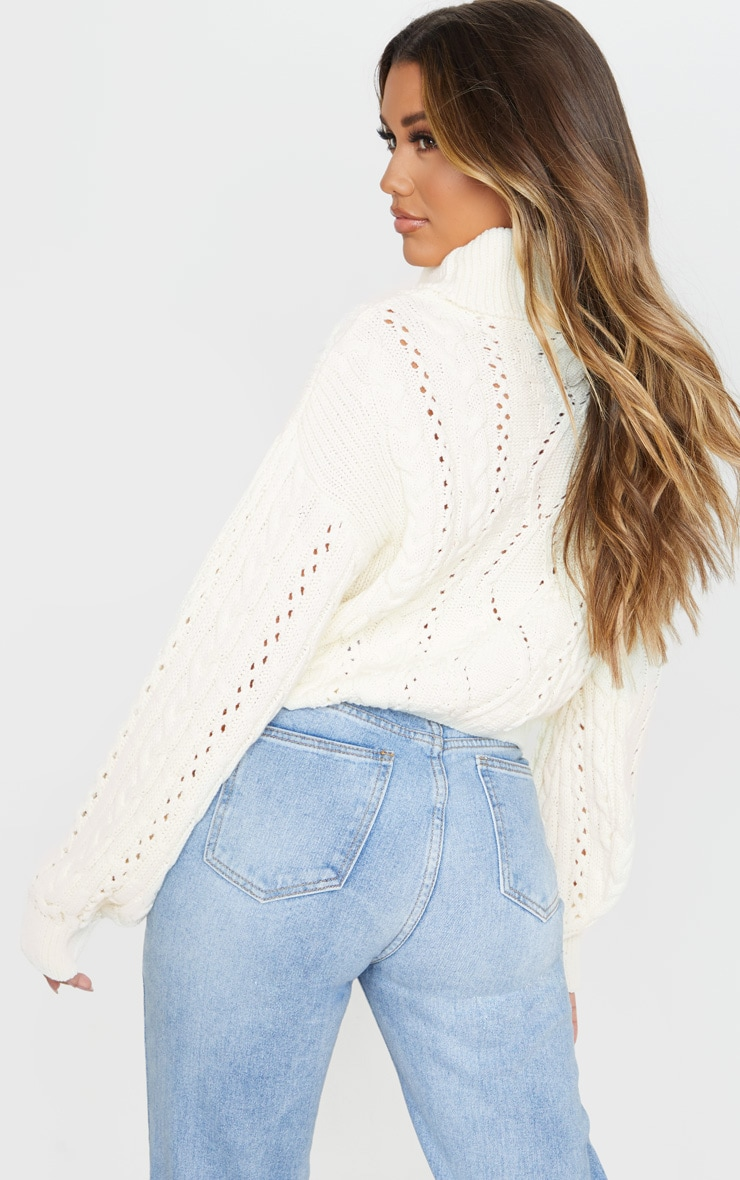 Cream Cut Out Detail Roll Neck Sweater 2