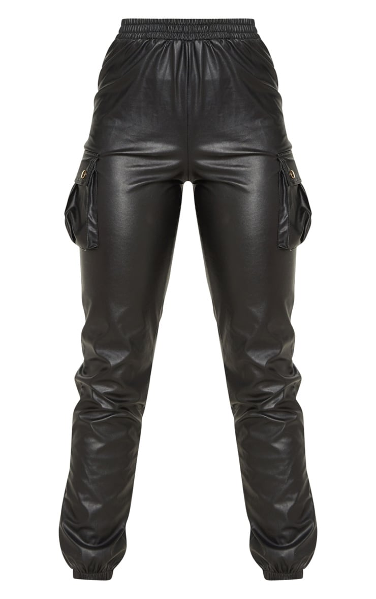 Tall Black Faux Leather Pocket Detail Joggers  3