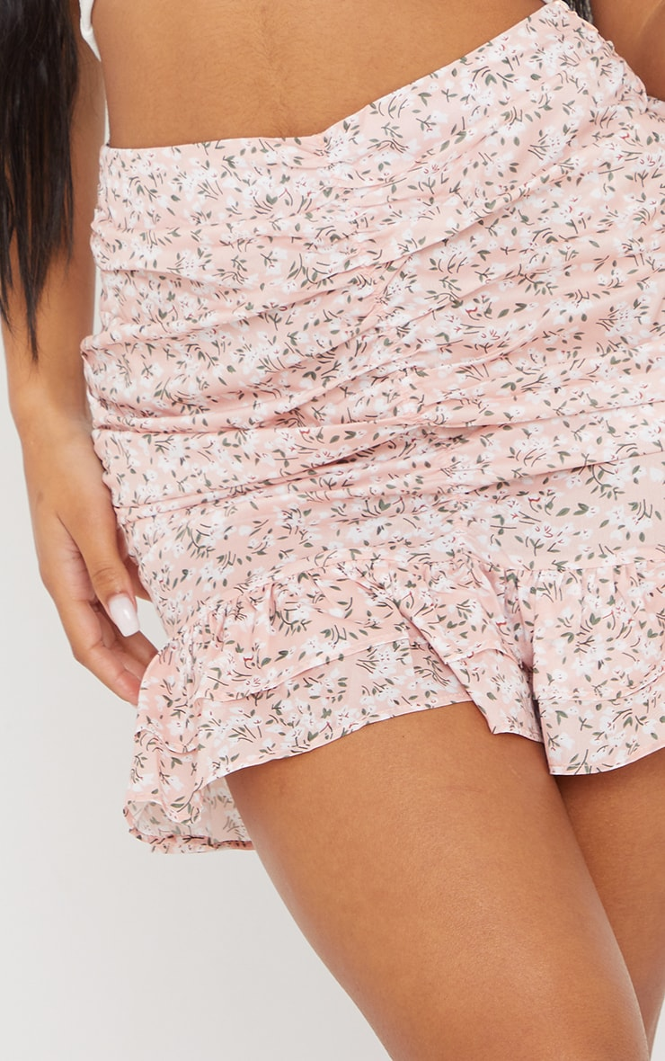Baby Pink Printed Ruched Frill Hem Mini Skirt 5
