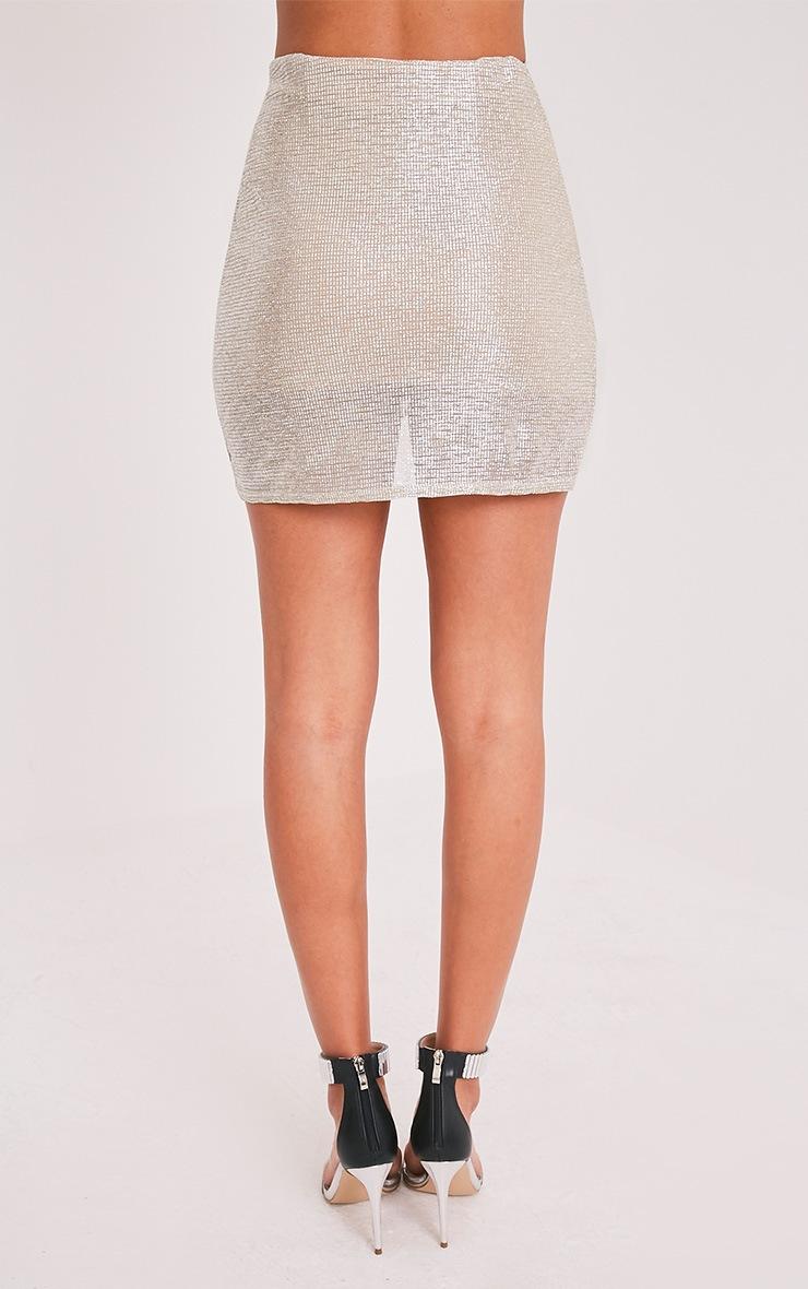 Josefina Silver Wrap Tie Metallic Foil Mini Skirt 4