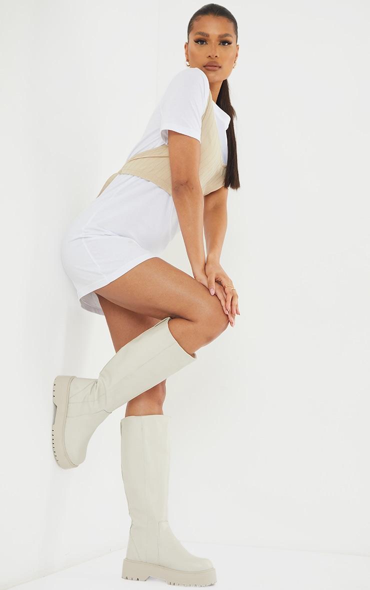 Cream PU Chunky Sole Knee High Boots 1