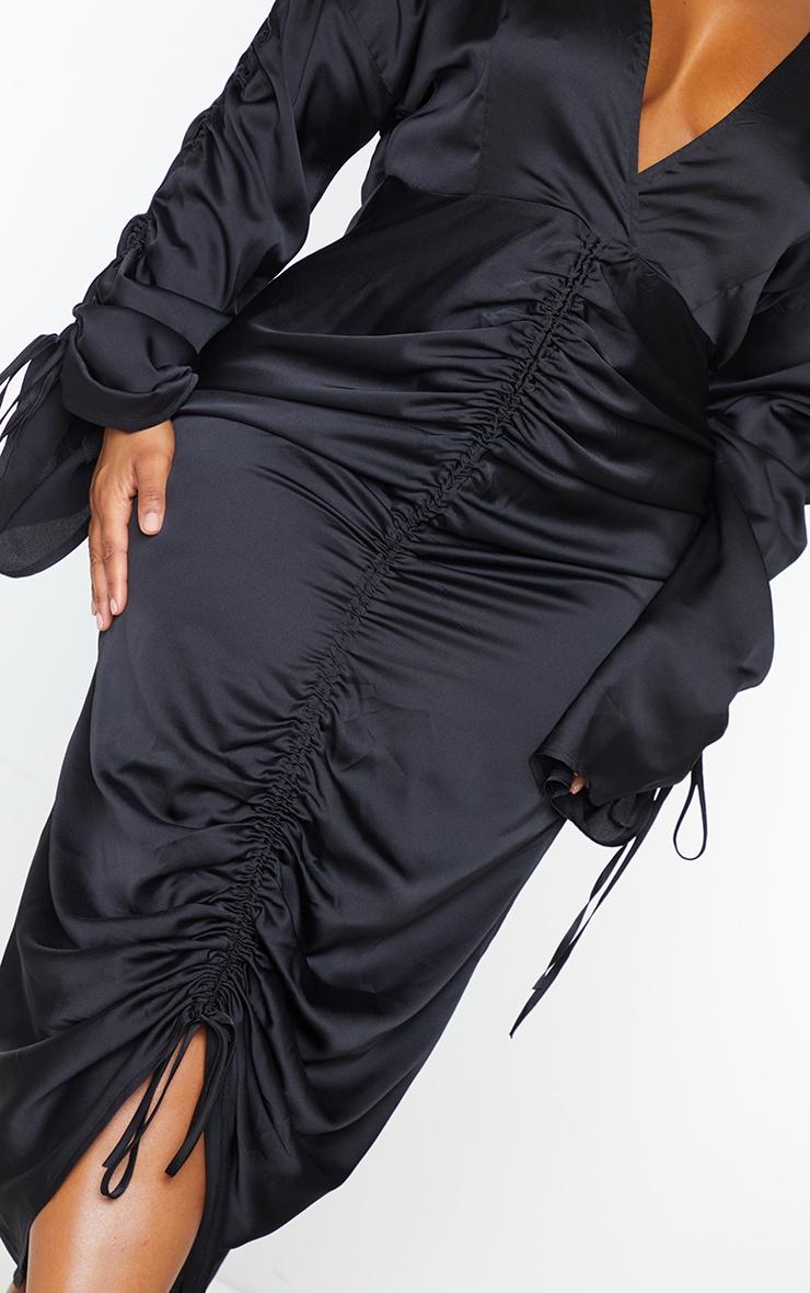 Plus Black Satin Ruched Plunge Bodycon Midi Dress 4