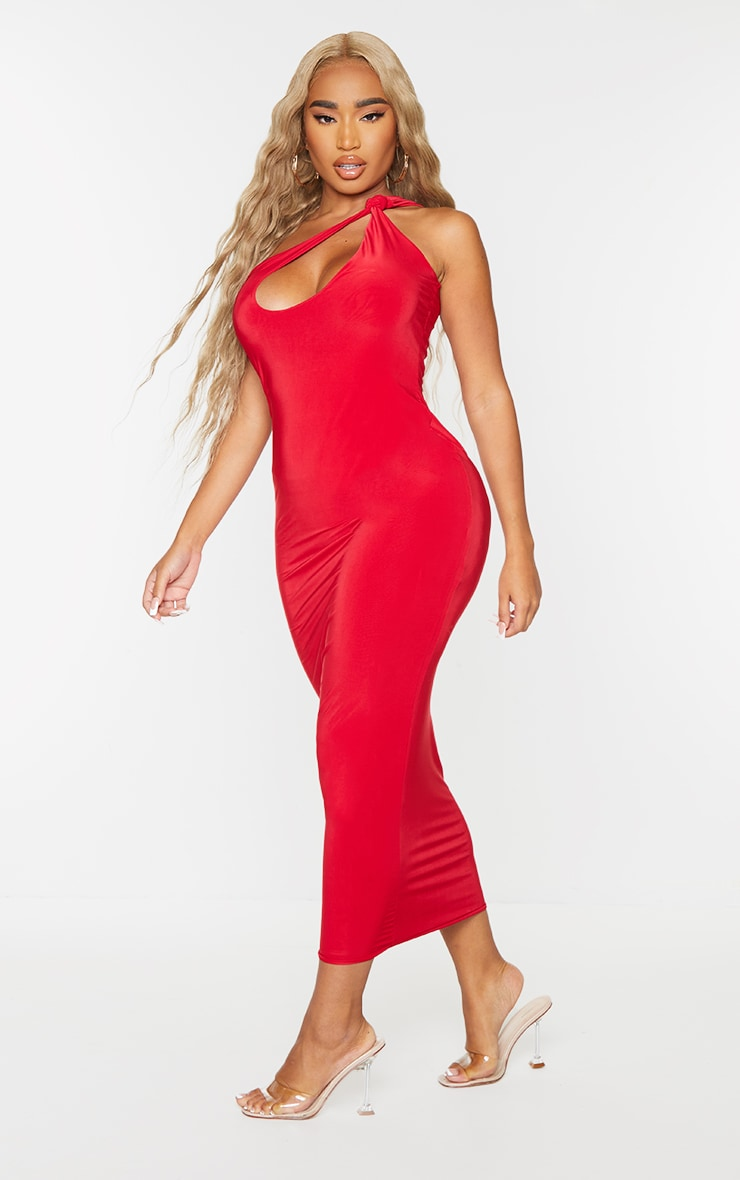 Shape Red Slinky Knot Shoulder Cut Out Midaxi Dress 3