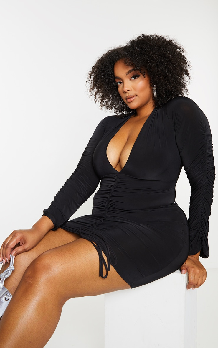 Plus Black Slinky Ruched Front Long Sleeve Dress 3