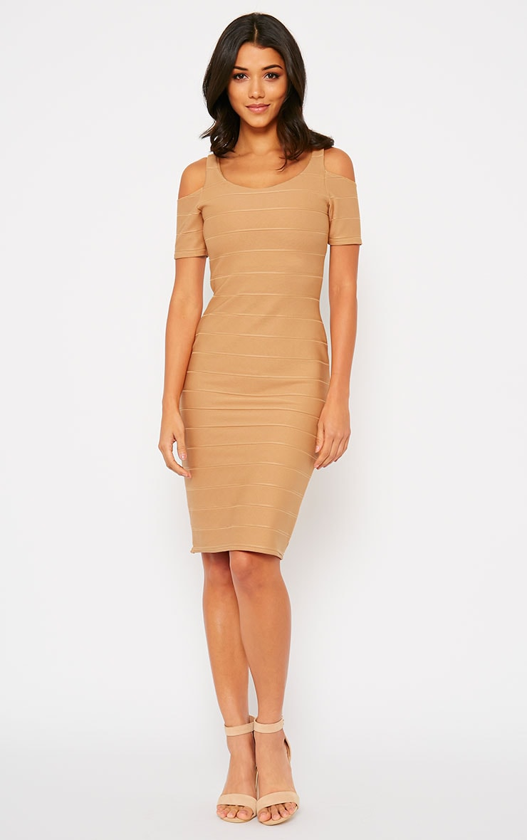 Bea Camel Cold Shoulder Bandage Dress 3