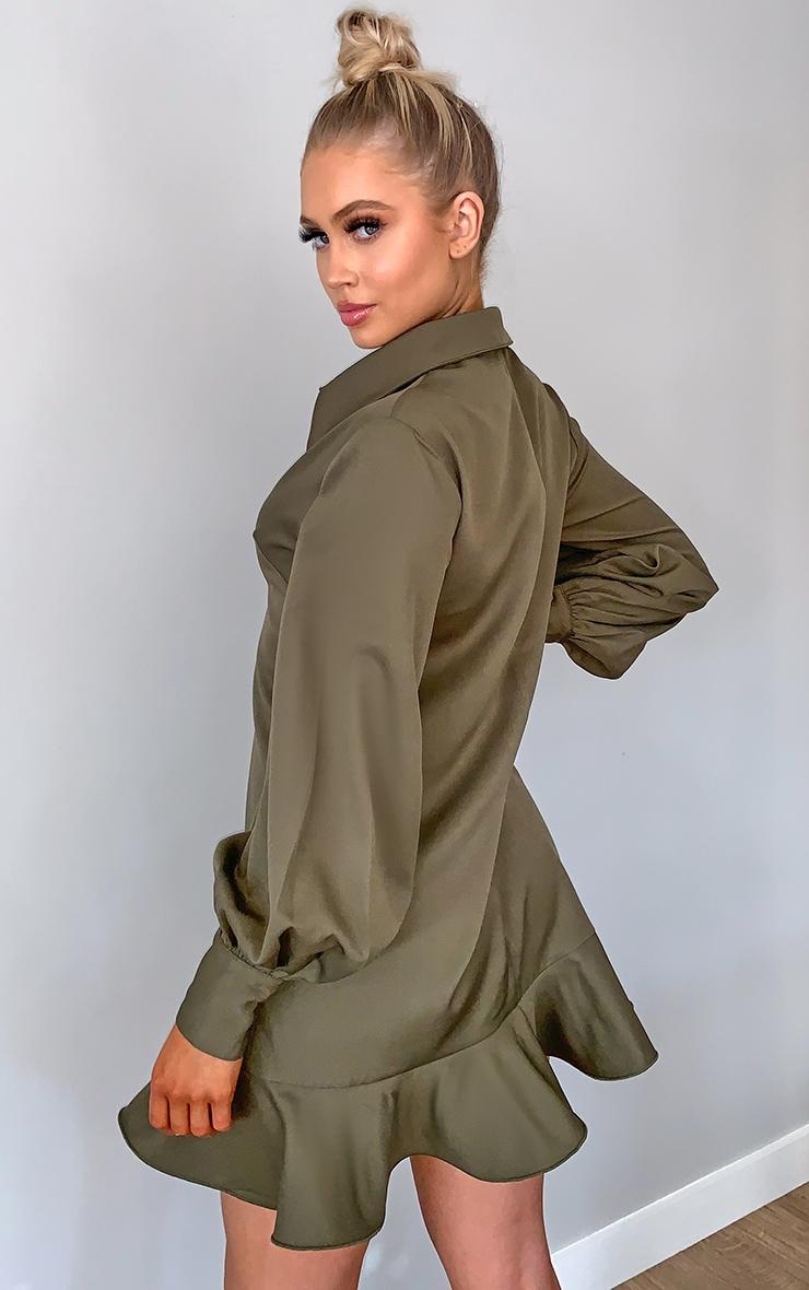 Khaki Frill Hem Shirt Dress 2