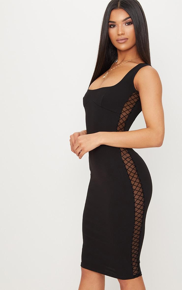 Black Mesh Side Square Neck Midi Dress 4
