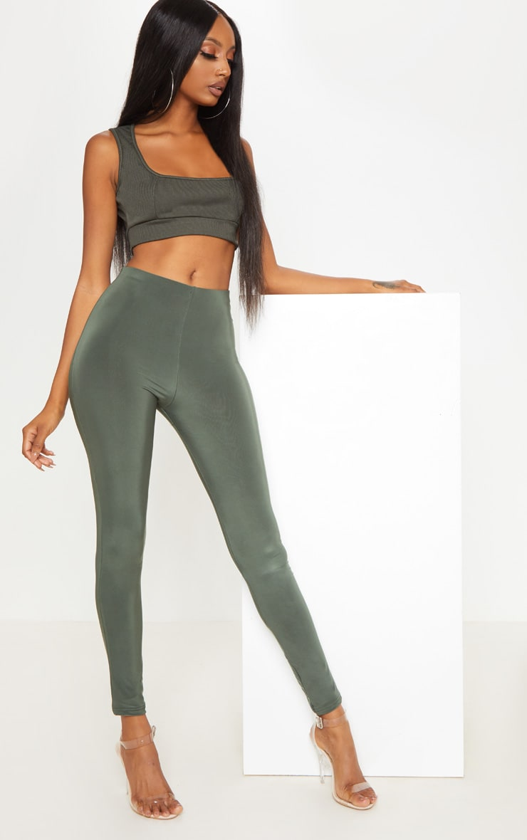 Khaki Second Skin Slinky Leggings