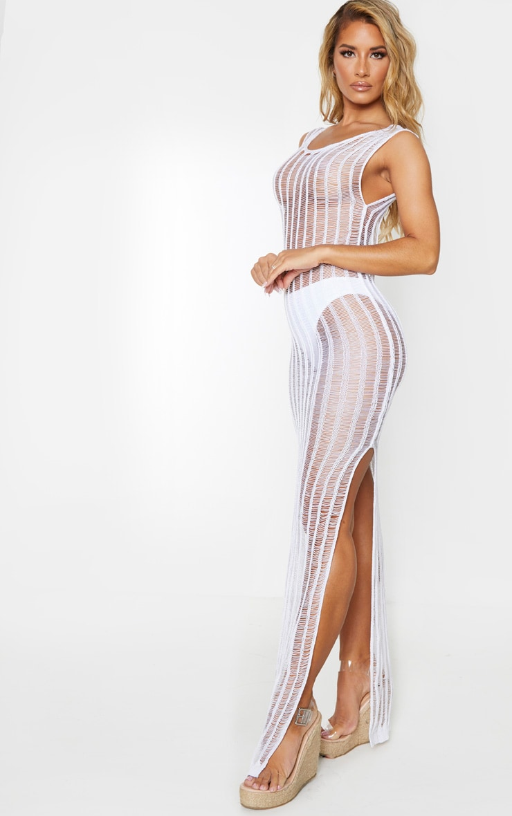 White Metallic Detail Open Back Maxi Dress 3