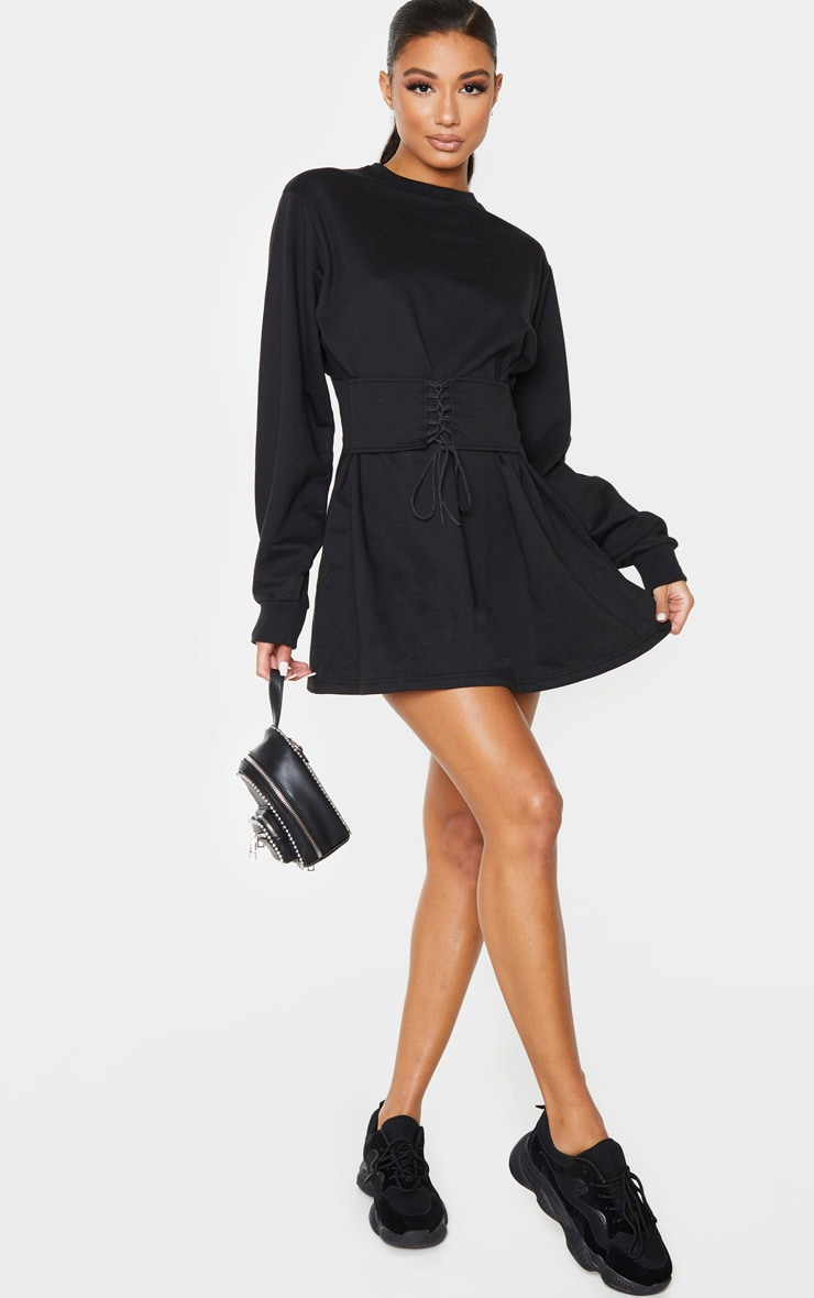 Black Corset Detail Jumper Dress 5