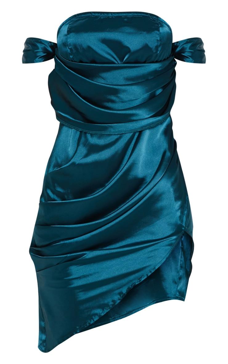 Teal Satin Bardot Drape Bodycon Dress 3