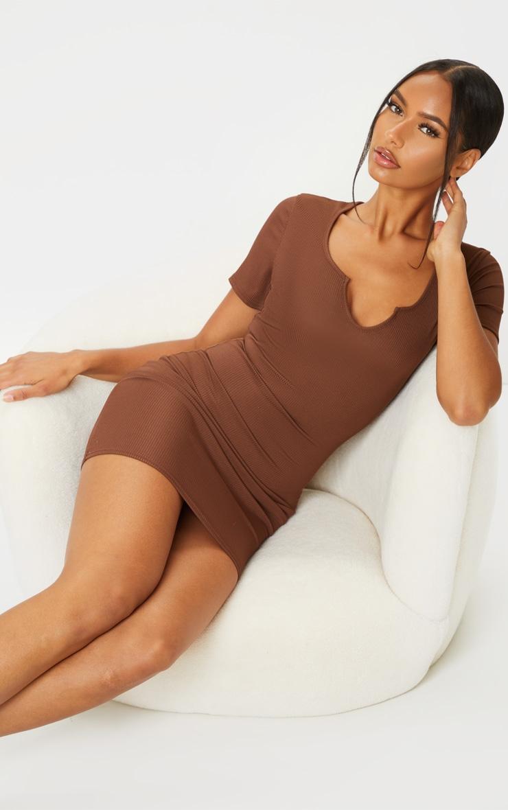 RECYCLED Chocolate Rib Short Sleeve Split Neck Bodycon Dress 1