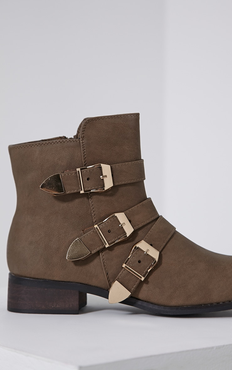 Martha Taupe Three Buckle Ankle Boots 6