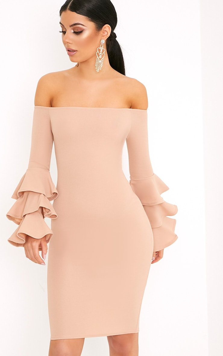Aniaa Nude Bardot Ruffle Sleeve Midi Dress 1