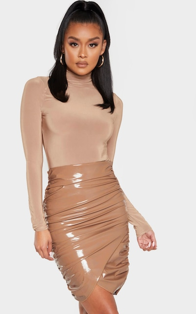 Stone Vinyl Ruched Wrap Midi Skirt