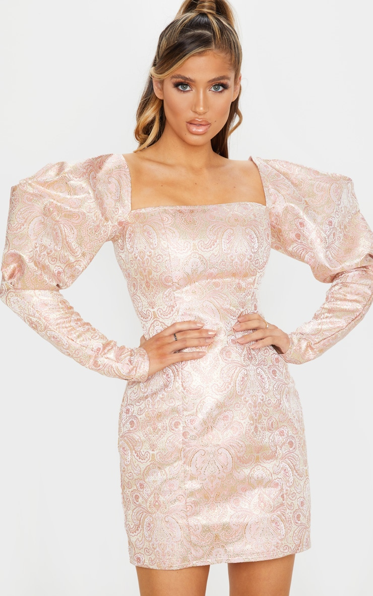 Pale Pink Extreme Puff Sleeve Jacquard Bodycon Dress 3