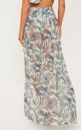 Pale Khaki Leafy Frill Split Maxi Skirt 3