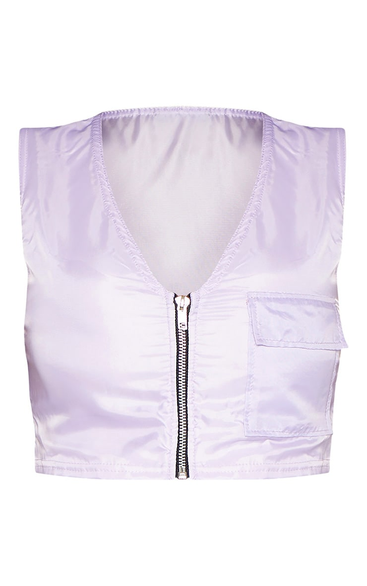 Shape Lilac Shell Zip Front Crop Top 3