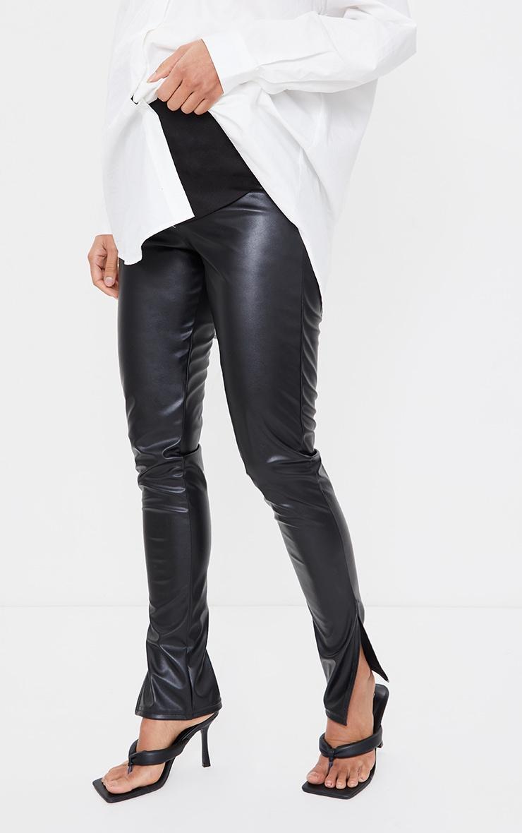Maternity Black Faux Leather Split Hem Trousers 2