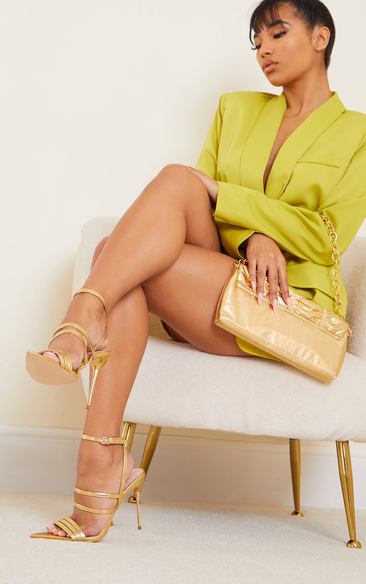 Gold Point Toe Pin Heels Double Strap Heels Sandals 1
