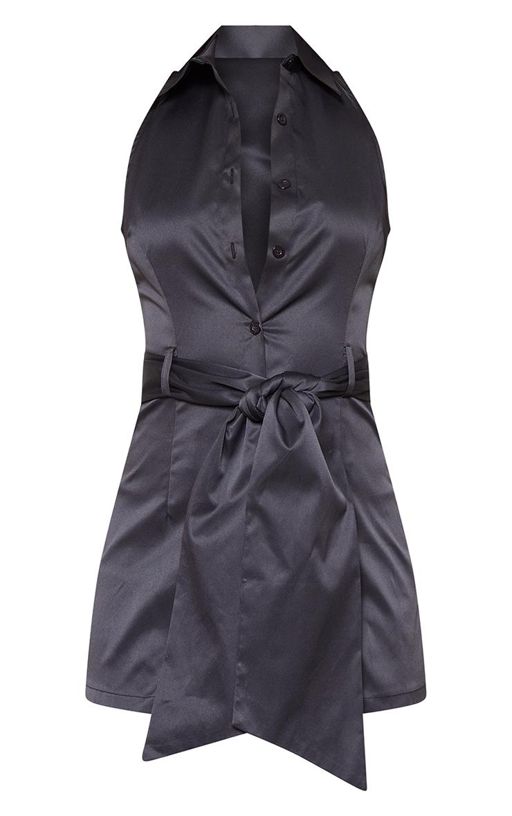 Black Sleeveless Peplum Shirt 3
